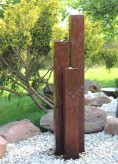 Wasserspiel SET Cortenstahl 3er Säulen 160 Gartenbrunnen Edelrost Design