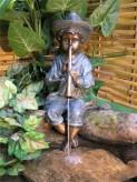 Gartenfigur Flötenspieler 55cm Polystone Teichfigur Wasserspeier inkl. Pumpe