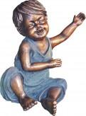 Gartenfigur lachender Junge Kim 28cm Polystone Teichfigur