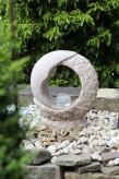 Wasserspiel SET Mond Quellstein 55cm Granit rosa Gartenbrunnen dreh. Glaskugel
