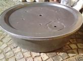 Fiberglas GFK Becken mit Deckel Ø 90 cm 150 Liter für Quellsteine Wasserspiele
