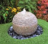 Wasserspiel SET Quellstein Kugel Saturn D40cm Granit Gartenbrunnen inkl. Pumpe
