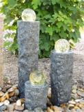 Wasserspiel SET 3er Säulen Ninda 60cm Granit Gartenbrunnen inkl. Pumpe Becken