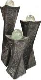 NUR ABHOLUNG! Wasserspiel SET 3er Säulen Swirl 100 Granit Gartenbrunnen dreh. Glaskugel