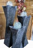 Wasserspiel SET 3er Säulen Swirl 100 Granit Gartenbrunnen dreh. Glaskugel