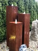 Wasserspiel SET Cortenstahl 3er Säulen 150 25x25 Gartenbrunnen im Edelrost Design