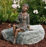 Bronzefigur Mädchen Emily 40cm Gartenfigur Bronze Skulptur Rottenecker