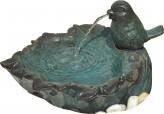AUSSTELLUNGSSTÜCK - NUR ABHOLUNG! Zimmerbrunnen Spatz auf Blattschale D 40cm Keramik Raumbrunnen inkl. Pumpe