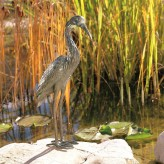 Bronzefigur Graureiher 56 | Bronze Fischreiher Gartenfigur Rottenecker