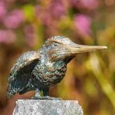 Bronzefigur Eisvogel 8cm Flügel offen Gartenfigur Bronze Skulptur Rottenecker