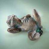 Fauler Frosch 8cm Bronze Gartenfigur Teichfigur Wasserspeier Rottenecker