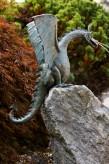 Bronzefigur Drachen Vogel Terrador wasserspeiend Wasserspiel Bronze Skulptur Rottenecker