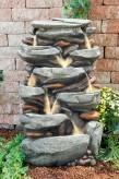 Jibei Wasserfall 100cm Polystone Brunnen Steinoptik inkl. Pumpe und LED