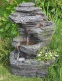 Tao Wasserfall 51cm Polystone Brunnen Steinoptik inkl. Pumpe und LED