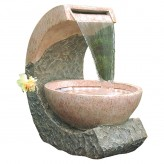 Cuvette Wasserfall 61cm Polystone Brunnen Marmor Optik inkl. Pumpe und LED