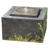Quader Wasserquelle L50cm Polystone Brunnen Gartenbrunnen inkl. Pumpe und LED