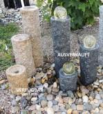 Wasserspiel SET 3er Säulen Ninda 60cm Granit gelb Gartenbrunnen Komplettset