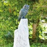 Bronzefigur Waldohr Eule auf Rosariosäule 57cm Bronze Skulptur Rottenecker