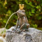 Bronzefigur Froschkönig Herbert 13cm Bronze Gartenfigur Wasserspeier Rottenecker