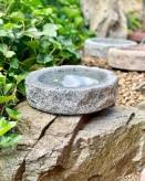 Vogeltränke Granit anthrazit rund 30cm Naturform Vogelbad für Garten Insektentränke