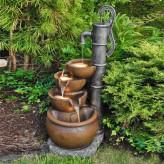 Wasserspiel Mano mit Schwengelpumpe 70cm Polystone Brunnen inkl. Pumpe und LED
