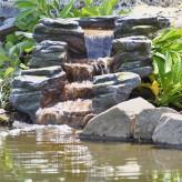 Bachlauf Rapit L110cm Polystone Fertigbauteil Bachlaufschale mit Wasserfall und LED-Leiste