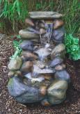 Wasserspiel Yuka L57cm Polystone Bachlauf Gartenbrunnen inkl. Pumpe und LED