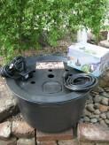 PE Becken mit GFK Deckel Ø55cm | Pumpe Oase Aquarius Universal 600 Brunnen bauen