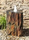 Quellstein Säule Schiefer 100cm mit Quellschale Gartenbrunnen Springbrunnen Komplettset