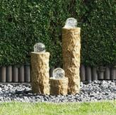 AUSSTELLUNGSSTÜCK - NUR ABHOLUNG! Wasserspiel SET 3er Säulen Ninda 60cm Granit gelb Gartenbrunnen Komplettset