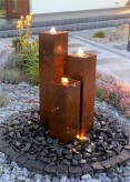Cortenstahl Säulen Trio 100 Edelrost Gartenbrunnen Springbrunnen Komplettset