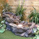 Akuna Bachlauf Brunnen L104cm mit Wasserfall naturgetreuer Polystone Gartenbrunnen