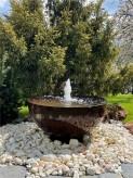 Cortenstahl Wasserschale Bowl 80 mit Fontäne Edelrost Gartenbrunnen Komplettset
