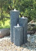 Granitbrunnen Säulen Trio 100/20 Granit Gartenbrunnen Springbrunnen Komplettset
