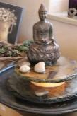 Zimmerbrunnen Minello Buddha | Feng Shui Schieferbrunnen inkl. Beleuchtung