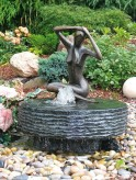 AKTIONSPREIS! Wasserspiel SET: Quellstein Mühlstein D50cm Granit anthrazit Gartenbrunnen