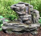 AUSSTELLUNGSSTÜCK! Zierbrunnen Shidu Polystone Wasserfall Bachlauf inkl. Pumpe und LED Beleuchtung