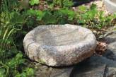Vogeltränke Granit rund Naturform Vogelbad für Garten