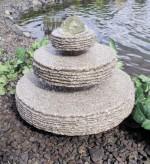 Wasserspiel SET: Quellstein Zichi Granit inkl. Pumpe Becken dreh. Glaskugel Springbrunnen